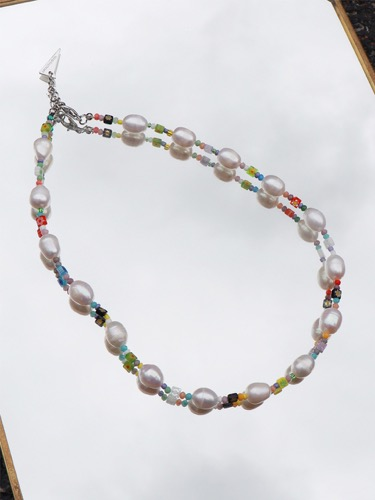 beads mix pearl point Necklace